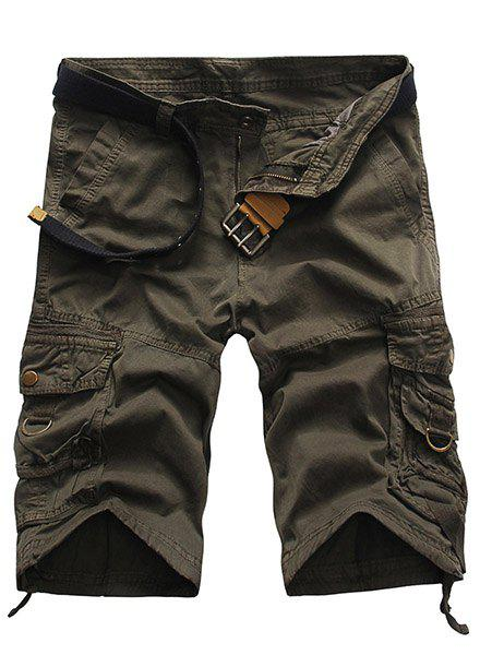 Loose Fit Multi-Pocket Solid Color Straight Leg Zipper Fly Men's Cargo Shorts - GRAY 30