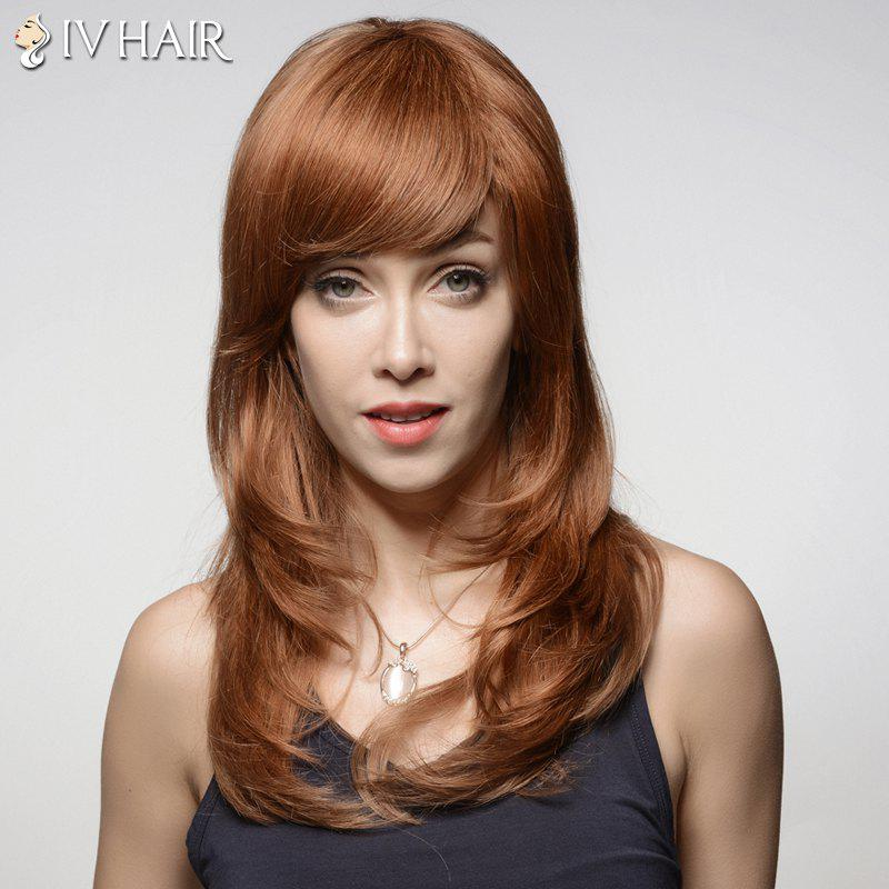 Shaggy Wave Long Noble Inclined Bang Capless Real Human Hair Wig For Women - AUBURN BROWN