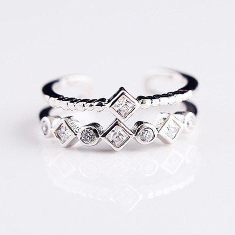 Double Layers Rhinestone Cuff Ring - SILVER ONE-SIZE