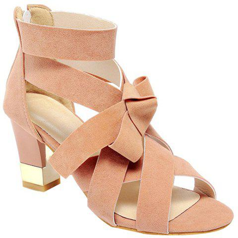 Stylish Bow and Cross Straps Design Women's Sandals - PINK 36