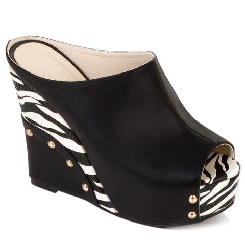 Trendy Zebra-Stripe and Wedge Heel Design Women's Slippers - BLACK 36