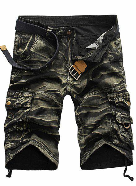 Military Style Straight Leg Multi-Pocket Loose Fit Zipper Fly Mens Camo ShortsMen<br><br><br>Size: 30<br>Color: ARMY GREEN