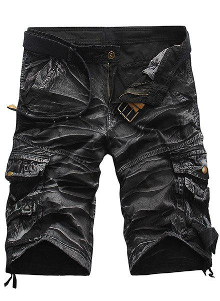 Military Style Straight Leg Multi-Pocket Loose Fit Zipper Fly Men's Camo Shorts - WHITE/BLACK 29