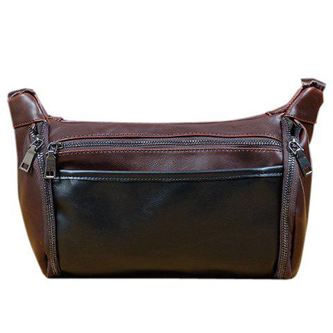Casual Solid Colour and PU Leather Design Messenger Bag For Men