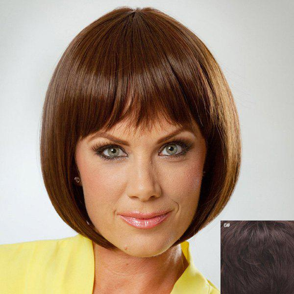 Charming Bob Style Full Bang Human Hair Wig For Women - MEDIUM BROWN