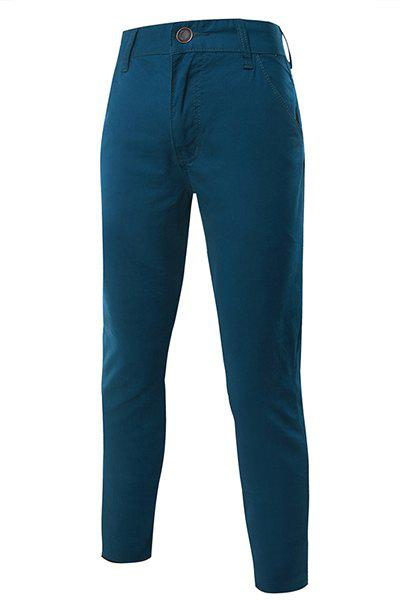 Hot Sale Elegant Straight Leg Pure Color Zipper Fly Men's Pants