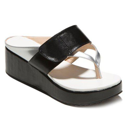 Casual Color Matching and Platform Design Women's Slippers - BLACK 38