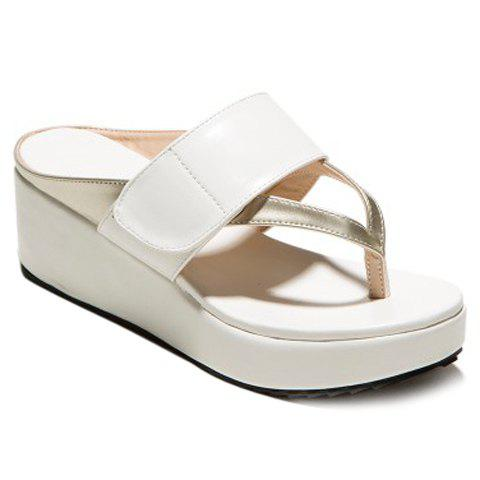 Casual Color Matching and Platform Design Women's Slippers - WHITE 36