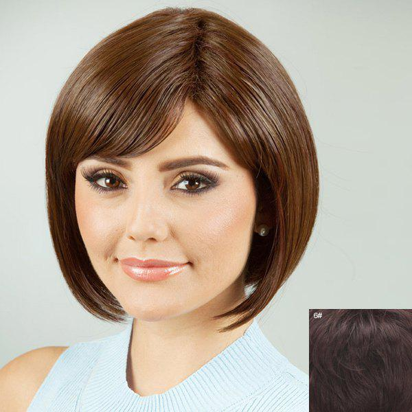 Charming Bob Style Oblique Bang Human Hair Wig For Women - MEDIUM BROWN