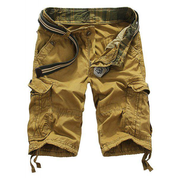 Loose Fit Straight Leg Multi-Pocket Lacing Cuffs Mens Zipper Fly ShortsMen<br><br><br>Size: 32<br>Color: EARTHY