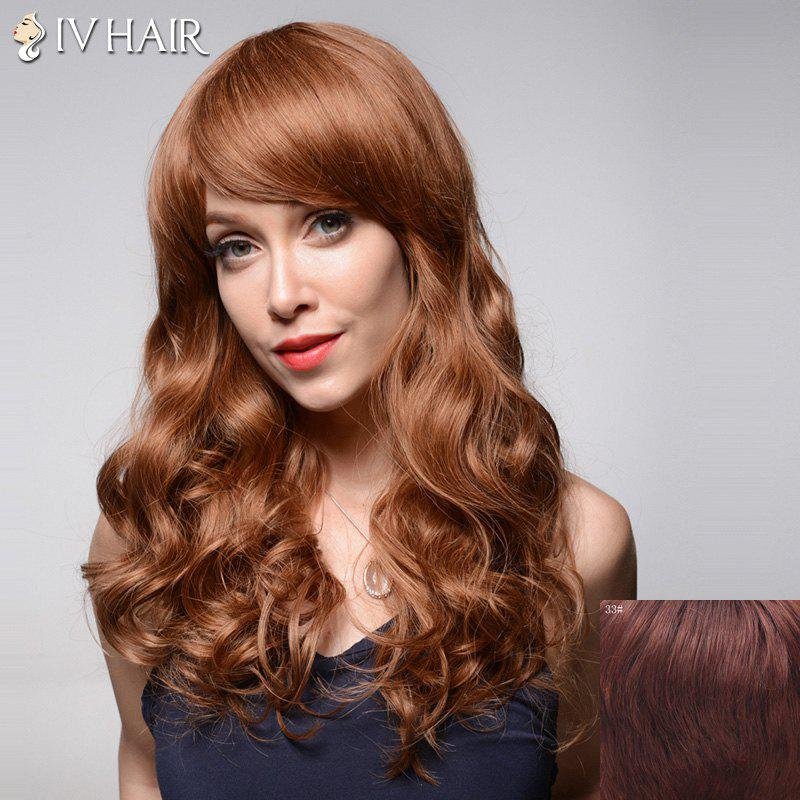 Bouffant Long Wavy Attractive Inclined Bang Capless Real Natural Hair Wig For Women - DARK AUBURN BROWN