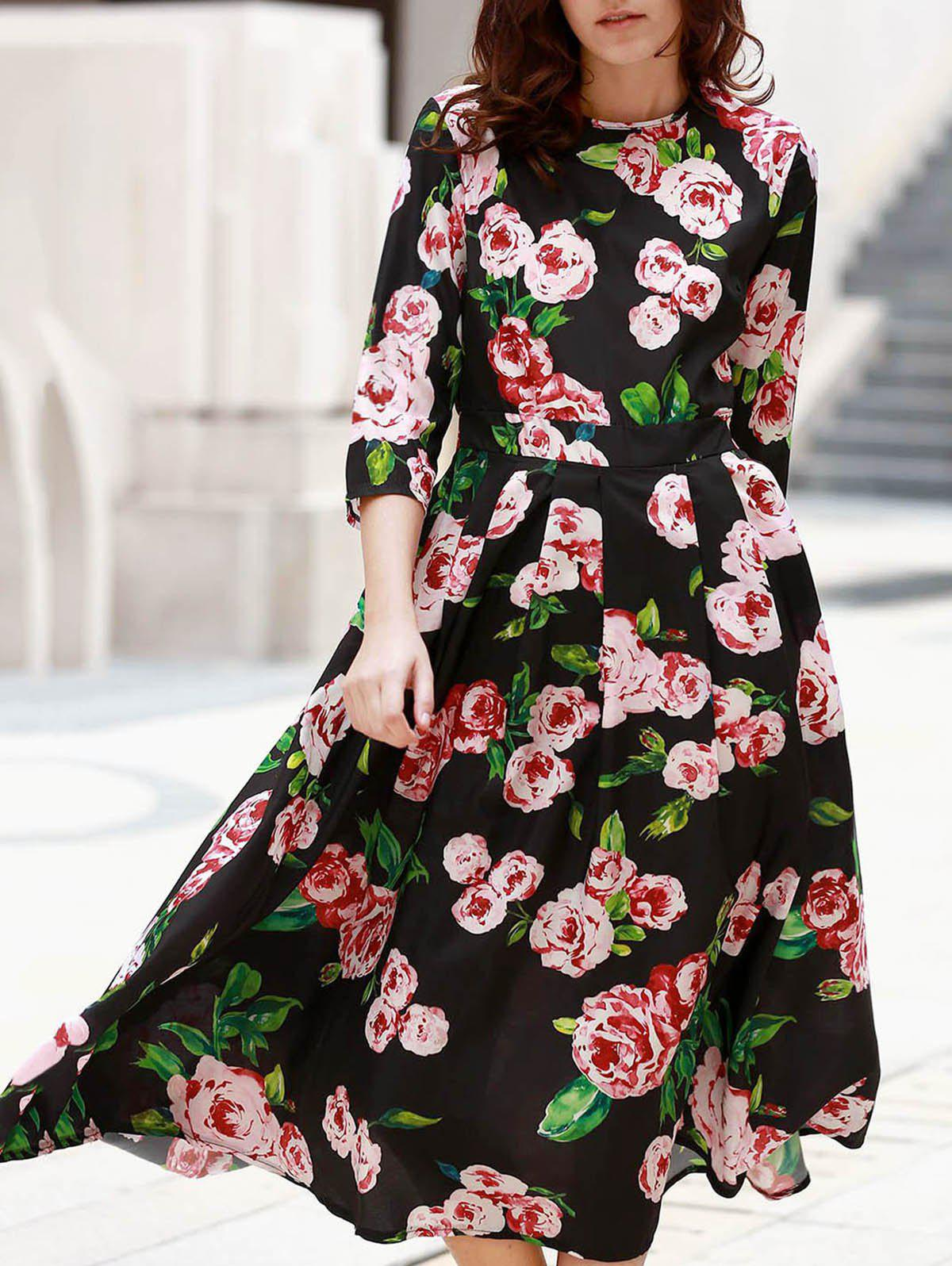 Elegant Women's Round Neck 1/2 Sleeve Floral Print Dress - BLACK S
