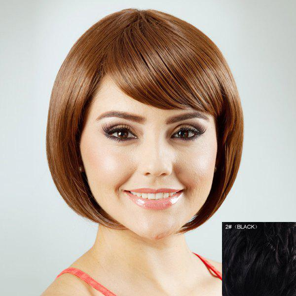 Charming Bob Style Inclined Bang Human Hair Wig For Women - BLACK