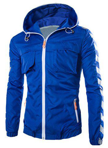 Solid Color Pocket Embellished Hooded Long Sleeve Polyester Men's Jacket - BLUE 2XL