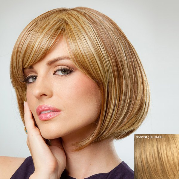 Attractive Inclined Bang Bob Style Human Hair Wig For Women - BLONDE