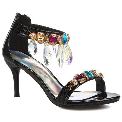 Trendy Patent Leather and Rhinestones Design Women's Sandals - BLACK 39