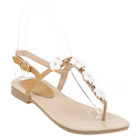 Sweet Floral and Flat Heel Design Women's Sandals - LIGHT BROWN 36