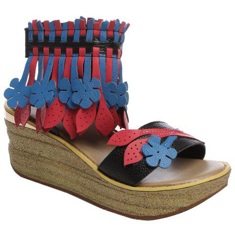 Trendy Colour Block and Fringe Design Women's Sandals - BLACK 39