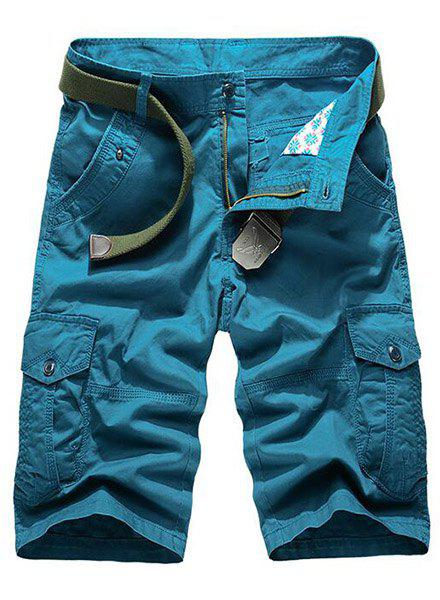 Laconic Solid Color Multi-Pocket Straight Leg Zipper Fly Men's Loose Fit Cargo Shorts - BLUE 38
