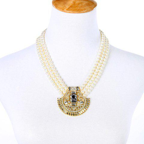 Faux Pearl Rhinestone Hollow Out Necklace - GOLDEN
