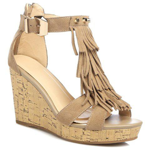 Trendy Fringe and Rivets Design Women's Sandals - CAMEL 38