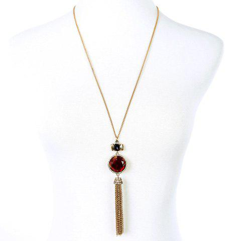 Vintage Rhinestone Faux Ruby Sweater Chain For Women - RED