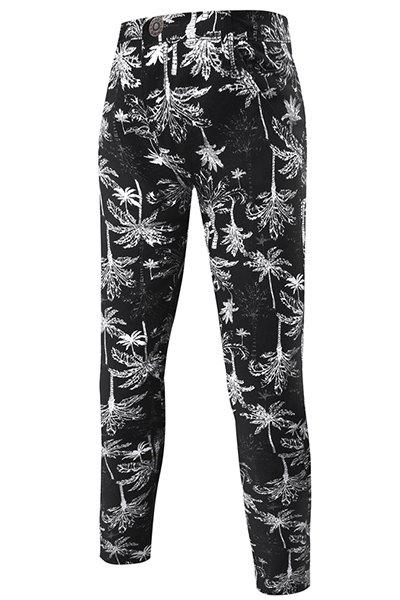 Hot Sale Narrow Feet Coconut Tree Pattern Print Zipper Fly Men's Pants - 32 BLACK