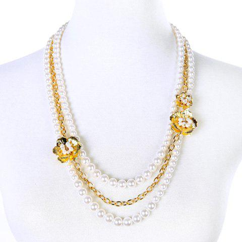Gorgeous Faux Pearl Floral Sweater Chain For Women