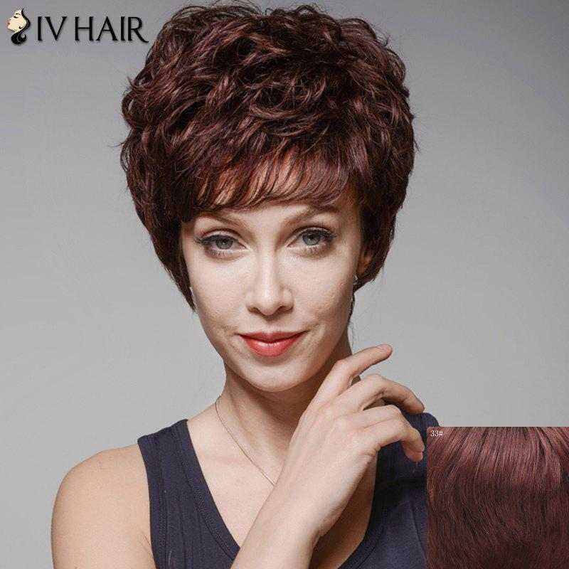 Skilful Curly Human Hair Full Bang Short Wig For Women skilful human hair curly full bang short wig for women