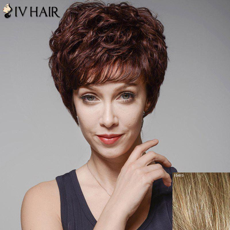 Skilful Curly Human Hair Full Bang Short Wig For Women - LIGHT CHOCOLATE