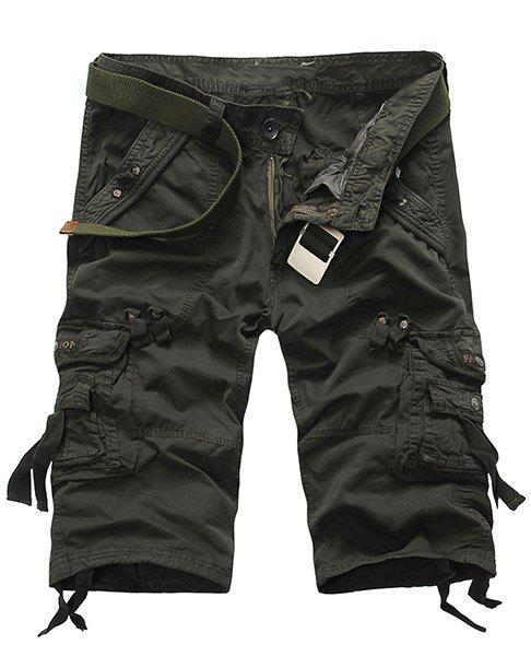 Casual Loose Fit Straight Leg Solid Color Multi-Pocket Men's Zipper Fly Capri Pants - ARMY GREEN 34
