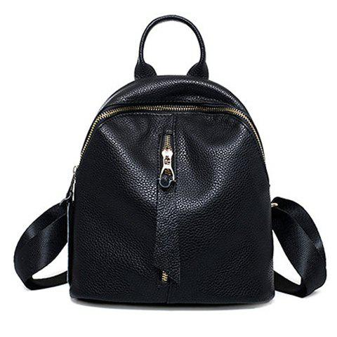 Preppy Solid Color and PU Leather Design Backpack For Women - BLACK
