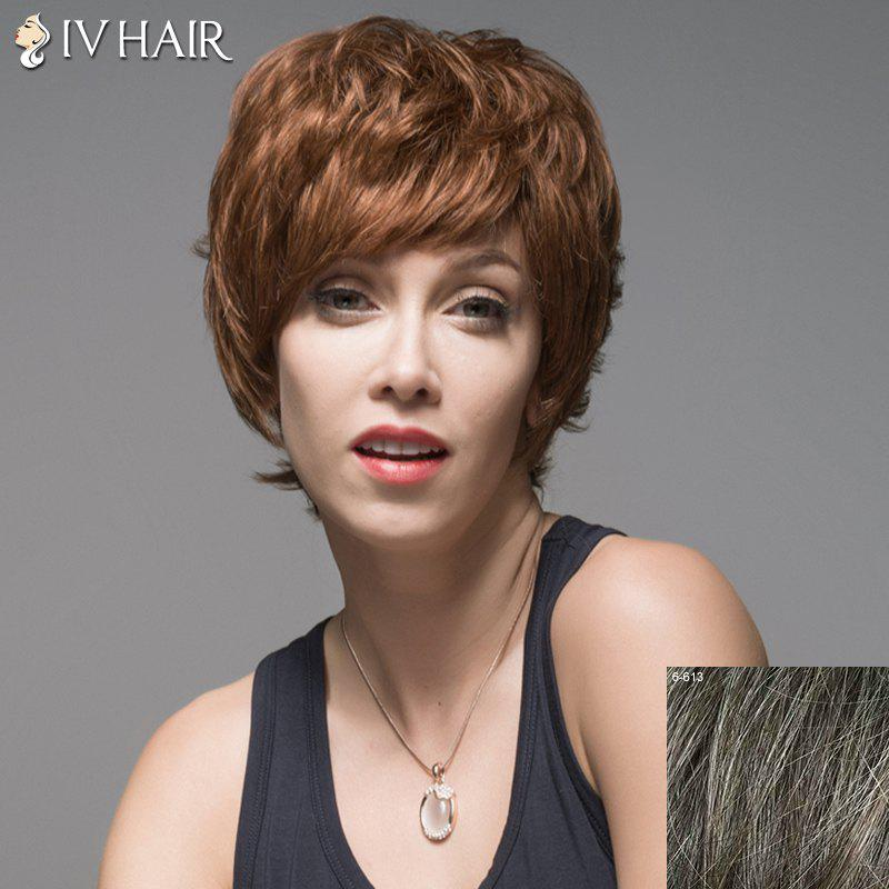 Vogue Side Bang Capless Fluffy Short Natural Wavy Human Hair Wig For Women - DARKEST BROWN/GRAY