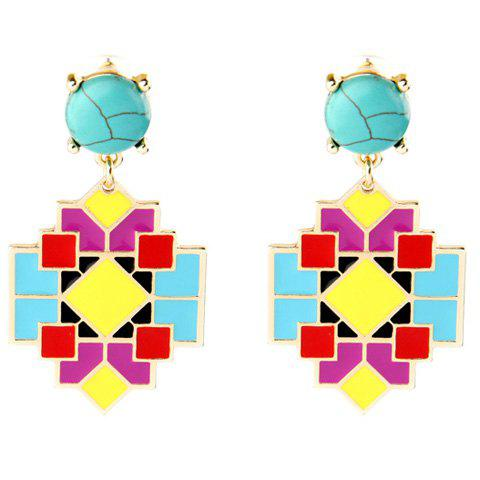 Pair of Graceful Faux Turquoise Geometric Earrings For Women - GOLDEN