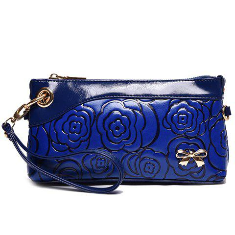 Stylish Bow and Embossing Design Women's Clutch Bag - BLUE
