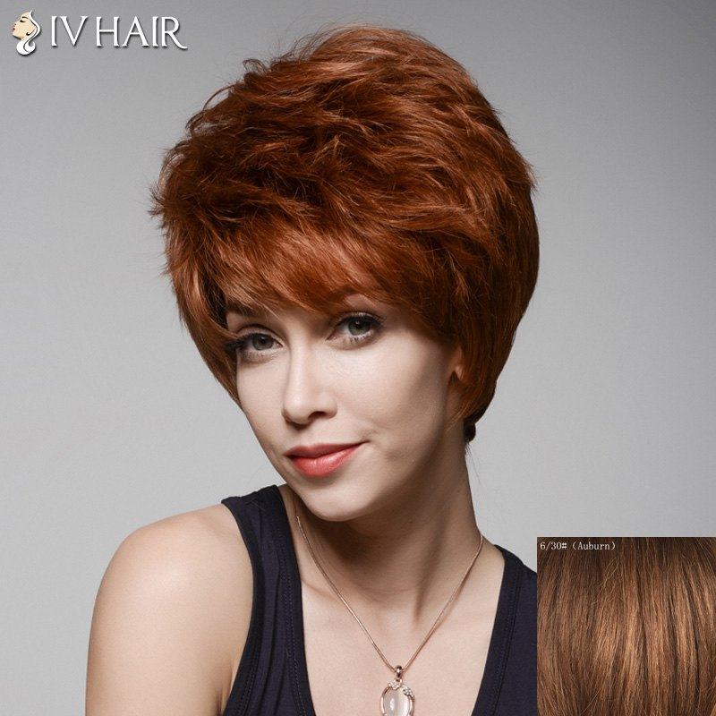 Ladylike Short Hairstyle Capless Bouffant Natural Wavy Side Bang Human Hair Wig For Women - AUBURN
