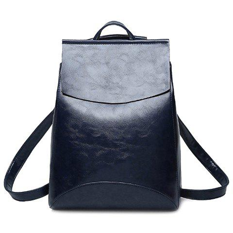 Laconic Solid Color and PU Leather Design Women's Satchel - BLUE