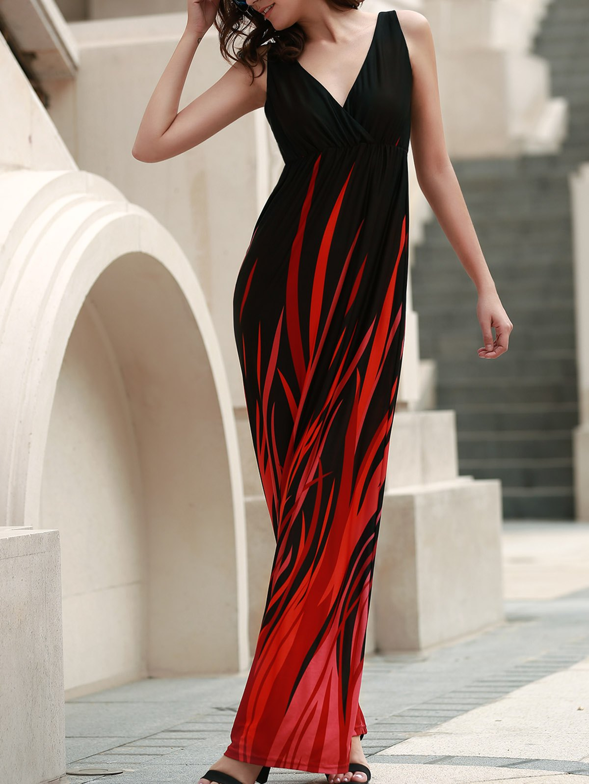 Elegant Hit Color V-Neck High Waist Pleated Maxi Dress For Women - BLACK L