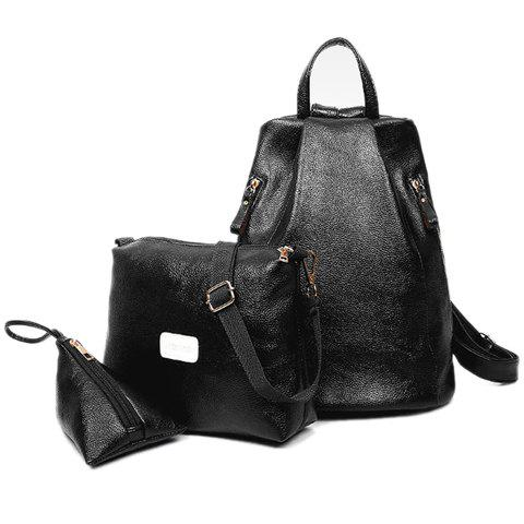 Stylish Solid Colour and PU Leather Design Backpack For Women - BLACK