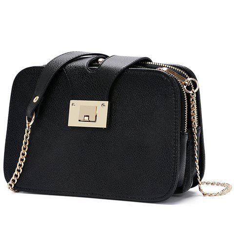 Elegant Metallic and Chains Design Women's Crossbody Bag - BLACK