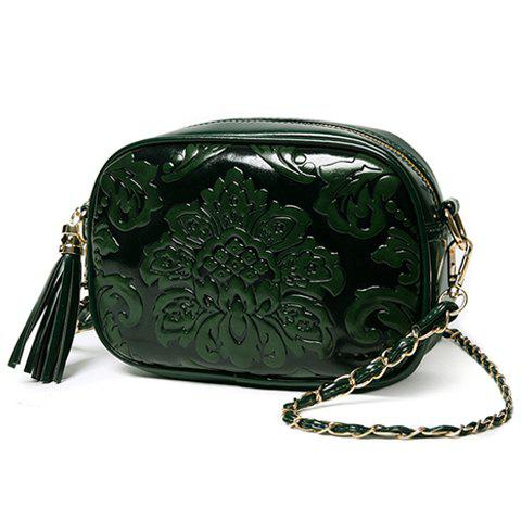 Graceful Embossing and Tassels Design Women's Crossbody Bag - GREEN