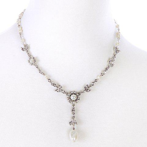 Flower Rhinestone Faux Pearl Pendant Necklace - WHITE