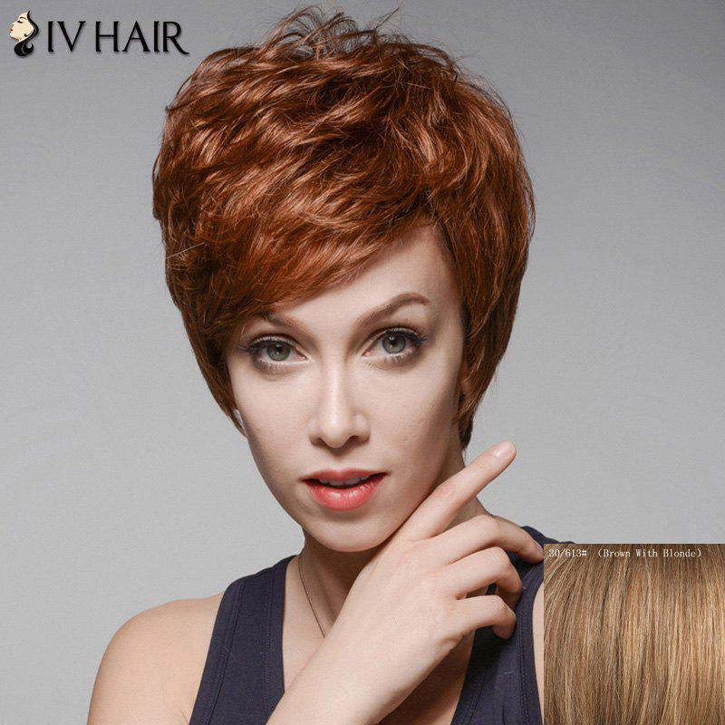 Fluffy Skilful Short Human Hair Side Bang Wig For Women - BROWN/BLONDE