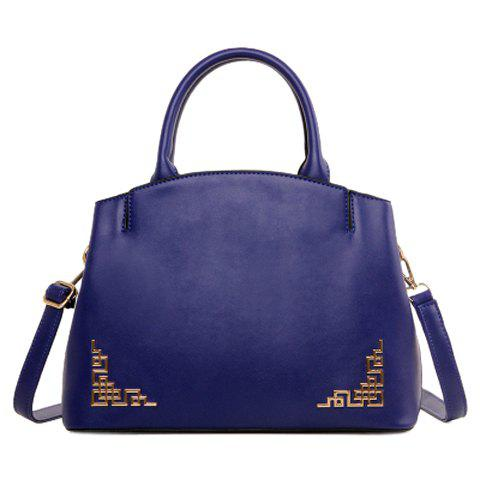Chinese Style Metal and Solid Color Design Women's Tote Bag - BLUE