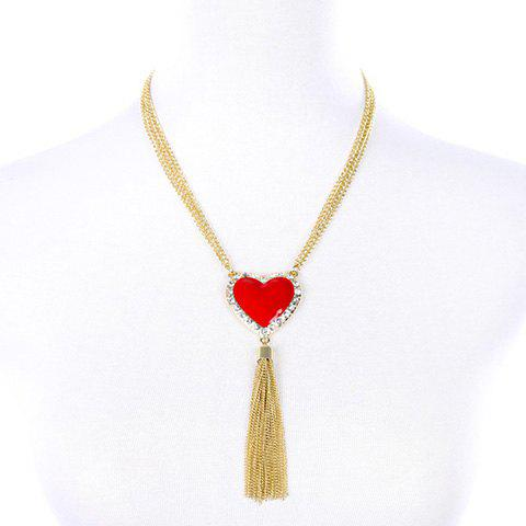Faux Ruby Heart Sweater Chain - RED