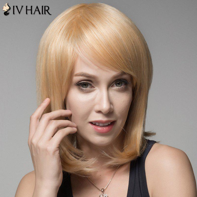 Ladylike Straight Human Hair Side Bang Wig For Women - GOLDEN BROWN/BLONDE