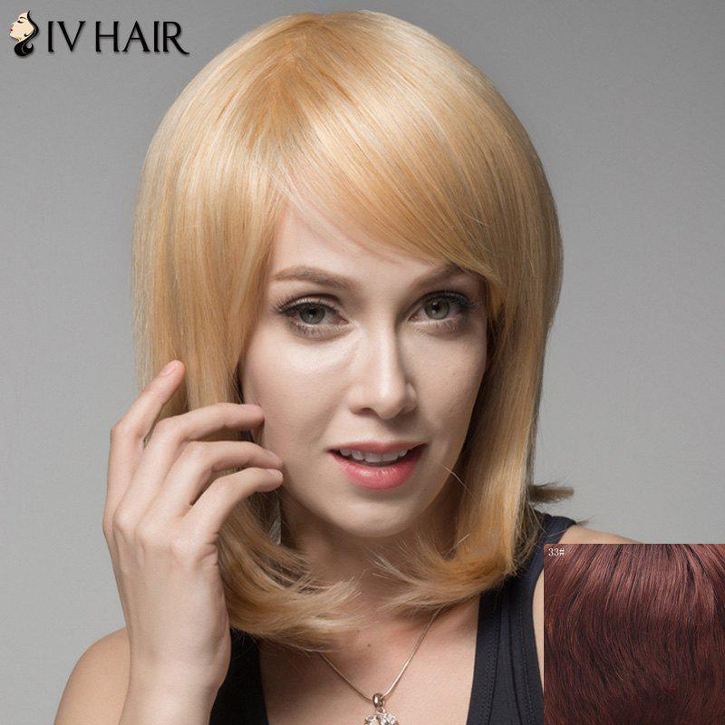 Ladylike Straight Human Hair Side Bang Wig For Women - DARK AUBURN BROWN