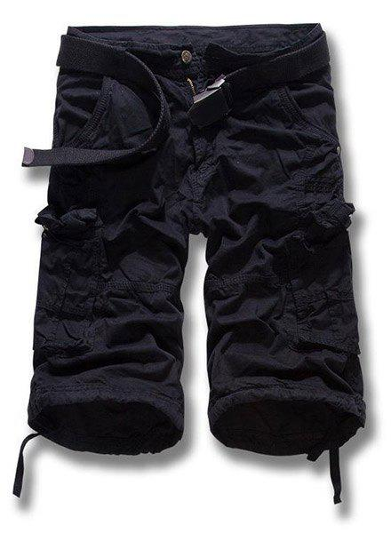 Military Style Zipper Fly Solid Color Multi-Pocket Men's Straight Leg Cargo Shorts - BLACK 34