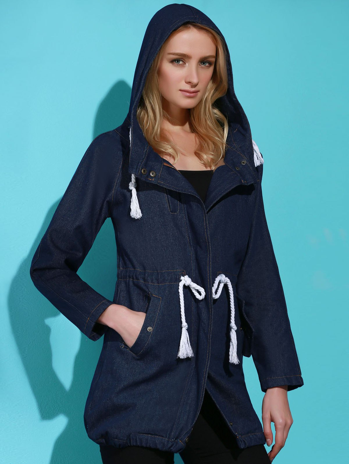 Stylish Long Sleeve Hooded Drawstring Women's Mid Length Coat - BLUE XL