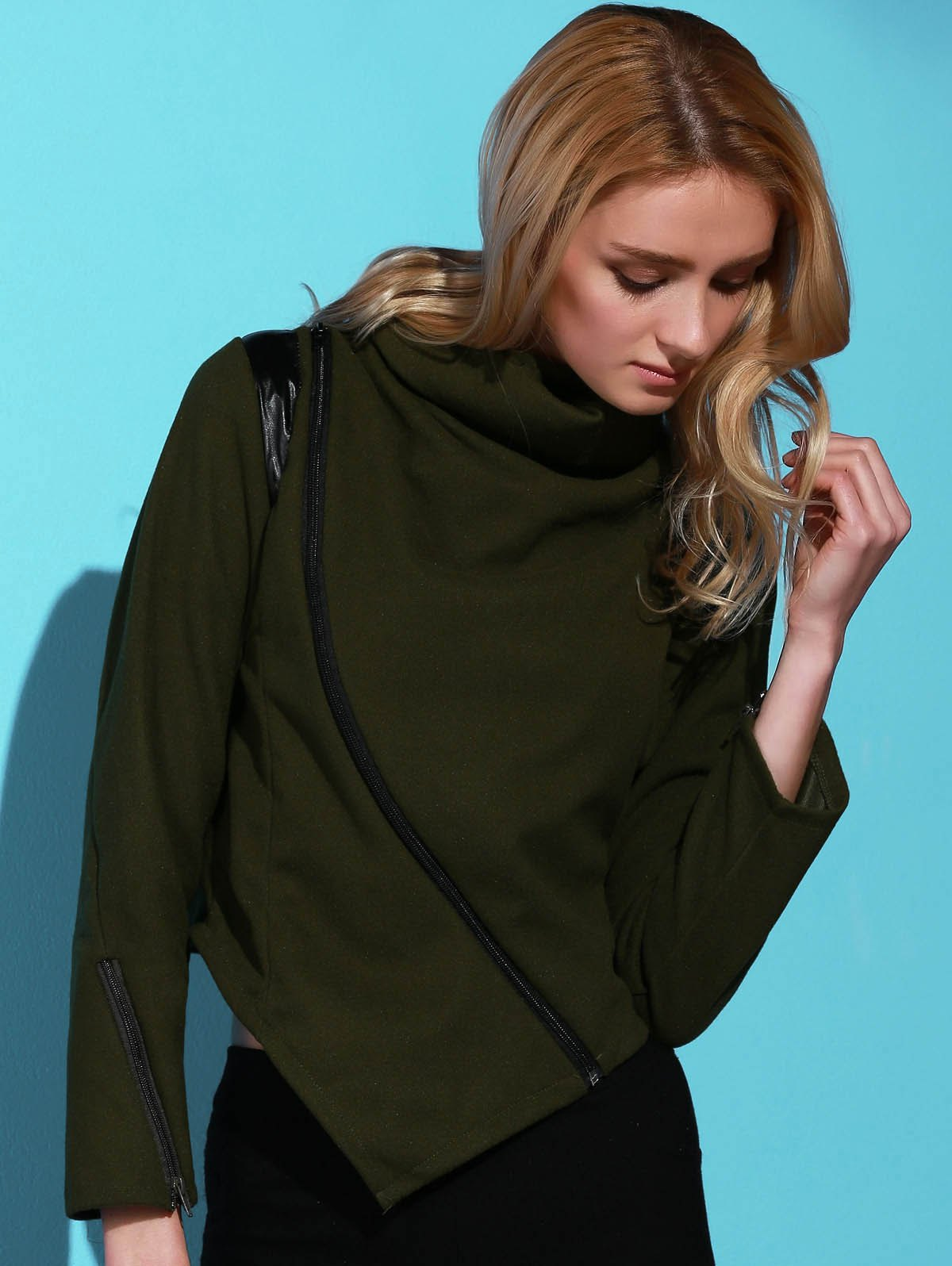 Stylish Long Sleeve Cowl Neck Zippered Women's Leather Trim Jacket - ARMY GREEN M